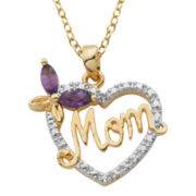 18K Gold-Plated African Amethyst Mom Heart Pendant