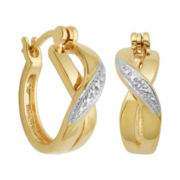 Diamond-Accent 18K Gold-Plated X Hoop Earrings