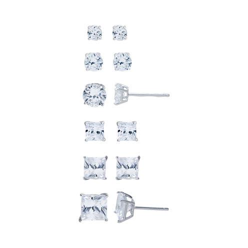 Sterling Silver 6-pr. Cubic Zirconia Stud Earring Set