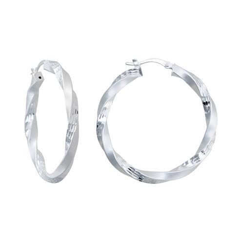 Sterling Silver Twisted, Dual-Surface Hoop Earrings