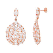 18K Rose Gold Over Brass Cubic Zirconia Drop Earrings
