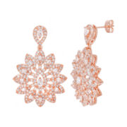 18K Rose Gold Over Brass Cubic Zirconia Flower Earrings