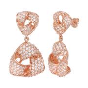 18K Rose Gold Over Brass Cubic Zirconia Love Knot Earrings