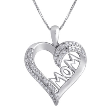 jcpenney.com | 1/10 CT. T.W. Diamond Sterling Silver Mom Heart Pendant Necklace