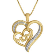 1/10 CT. T.W. Diamond Mom Heart Pendant Necklace