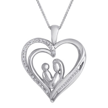 jcpenney.com | 1/10 CT. T.W. Diamond Mom Heart Pendant Necklace