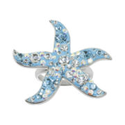 Sterling Silver Crystal Starfish Ring