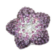 Sterling Silver Purple Crystal Flower Ring