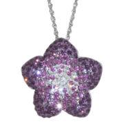 Sterling Silver Purple Crystal Flower Pendant