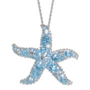 Sterling Silver Crystal Starfish Pendant