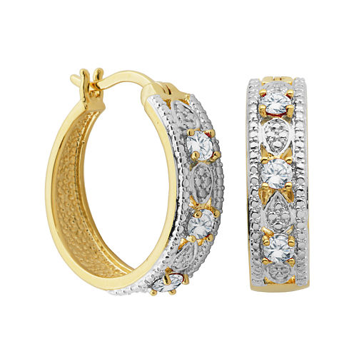Classic Treasures™ Genuine White Topaz and Diamond-Accent Hoop Earrings