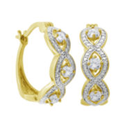 Classic Treasures™ Genuine White Topaz and Diamond-Accent Link Hoop Earrings