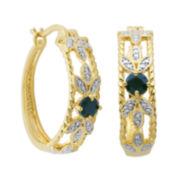 Classic Treasures™ Genuine Sapphire and Diamond-Accent Leaf Hoop Earrings