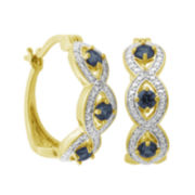 Classic Treasures™ Genuine Sapphire and Diamond-Accent Link Hoop Earrings