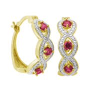 Classic Treasures™ Lab-Created Ruby and Diamond-Accent Link Hoop Earrings