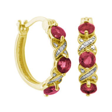 jcpenney.com | Classic Treasures™ Lab-Created Ruby and Diamond-Accent Hoop Earrings
