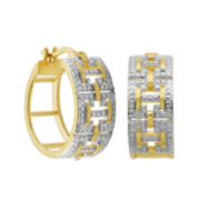 Classic Treasures™ Diamond-Accent H-Frame Two-Tone Gold Hoop Earrings