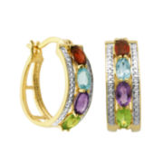 Classic Treasures™ Genuine Multi-Gemstone and Diamond-Accent Hoop Earrings