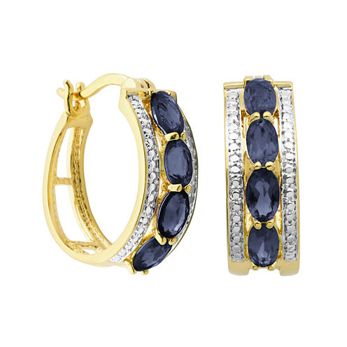 Classic Treasures™ Genuine Sapphire and Diamond-Accent Hoop Earrings