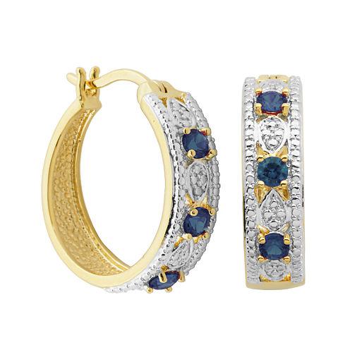 Classic Treasures™ Genuine Sapphire and Diamond-Accent Hoop Earrings