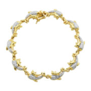 Classic Treasures™ Diamond-Accent 18K Two Tone Gold Over Brass Dolphin Bracelet