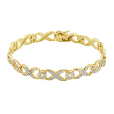 jcpenney.com | Classic Treasures™ Diamond-Accent X/O 18K Two-Tone Gold Over Brass Bracelet