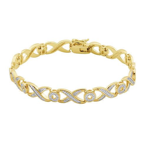 Classic Treasures™ Diamond-Accent X/O 18K Two-Tone Gold Over Brass Bracelet
