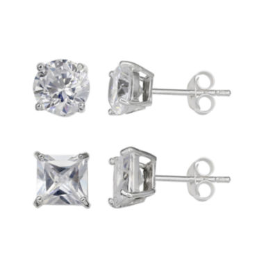 jcpenney.com | Silver Enchantment™ Cubic Zirconia Sterling Silver 2-pr. Earrings