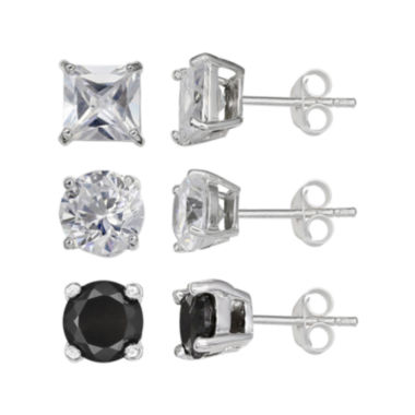 jcpenney.com | Silver Enchantment™ Cubic Zirconia 3-pr. Earrings