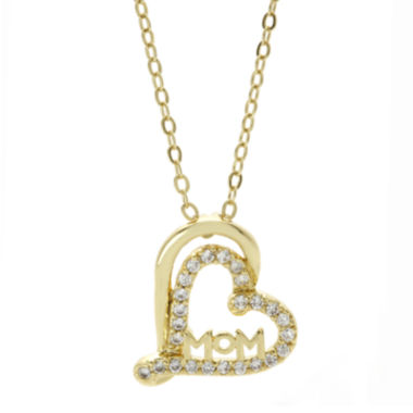 jcpenney.com | Sparkle Allure™ Cubic Zirconia Gold-Tone Mom Heart Necklace
