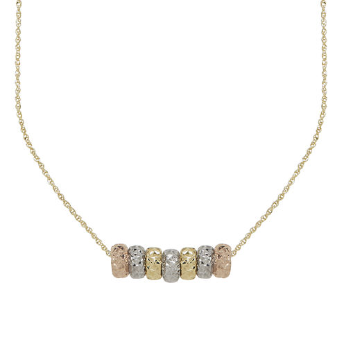 14K Tri-Tone Gold Textured Rondelle Bead Pendant Necklace