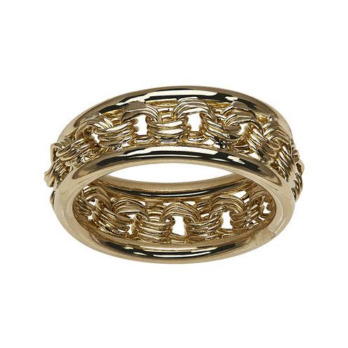14K Yellow Gold Rosetta-Center Hollow Ring