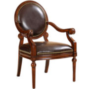 Shelby Faux-Leather Round-Back Chair