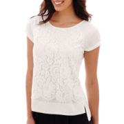 Liz Claiborne® Short-Sleeve Lace Top - Tall