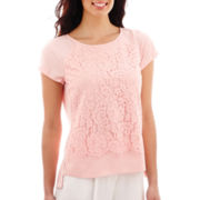 Liz Claiborne® Short-Sleeve Lace-Front Top