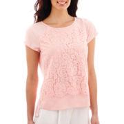 Liz Claiborne® Short-Sleeve Lace-Front Top