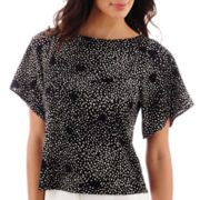 Liz Claiborne® Flowy Elbow-Sleeve Top