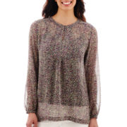 Liz Claiborne® Long-Sleeve Print Tunic Blouse with Cami - Tall