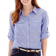 St. John's Bay® Roll Tab Elbow Sleeve Button Front Shirt