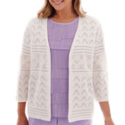 Alfred Dunner® Shaker Heights 3/4-Sleeve Pointelle Cardigan