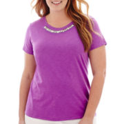 St. John's Bay® Short-Sleeve Jeweled T-Shirt - Plus