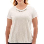 St. John's Bay® Short-Sleeve Jeweled T-Shirt - Plus