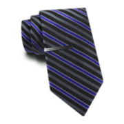 JF J. Ferrar® Striped Slim Tie and Tie Bar Set