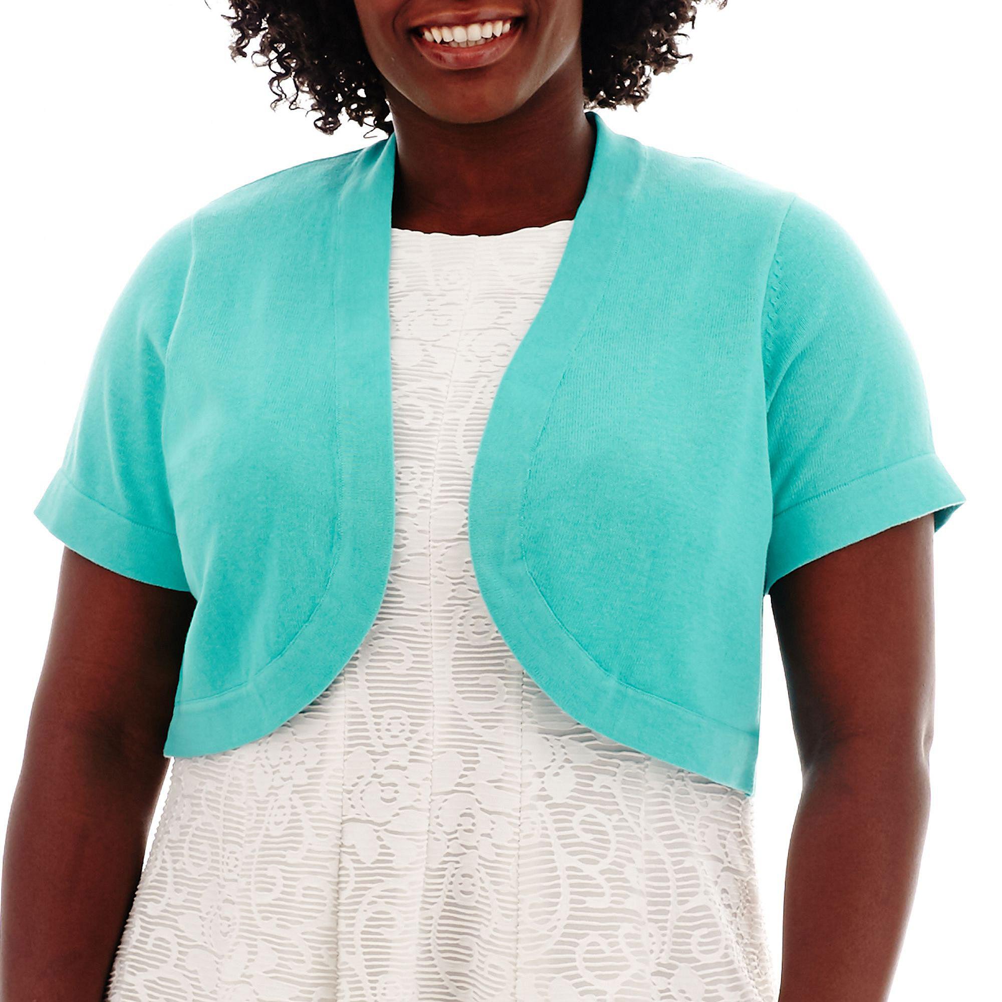 R & K Originals Short-Sleeve Bolero Shrug Sweater - Plus
