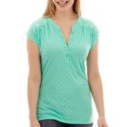 Liz Claiborne® Short-Sleeve Dot Henley Top - Petite