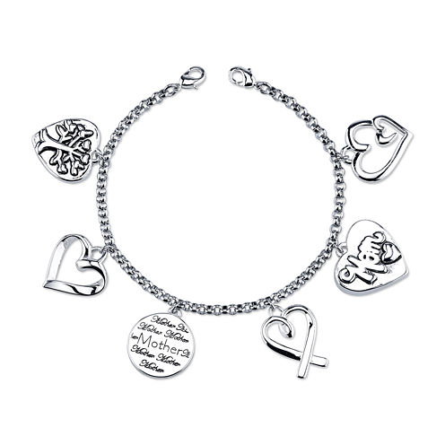 Footnotes® Silver-Plated Stainless Steel Mom Charm Bracelet
