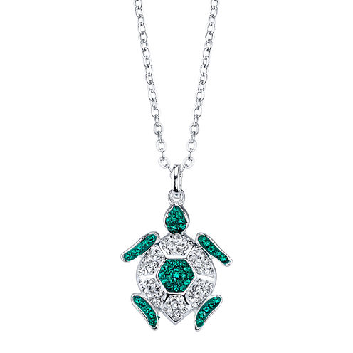 Crystal Sophistication™ Crystal and Sterling Silver Turtle Pendant Necklace