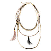 Decree® 3-Row Beaded Feather Necklace