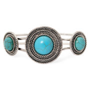 Aris by Treska Simulated Turquoise Concho Cuff Bracelet