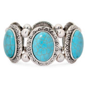 Aris by Treska Simulated Turquoise Stretch Cuff Bracelet